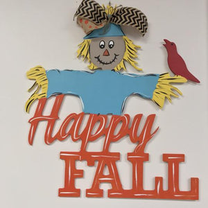 Happy Fall Scare Crow Wooden Door Hanger, Thanksgiving Customizable Door Hanger