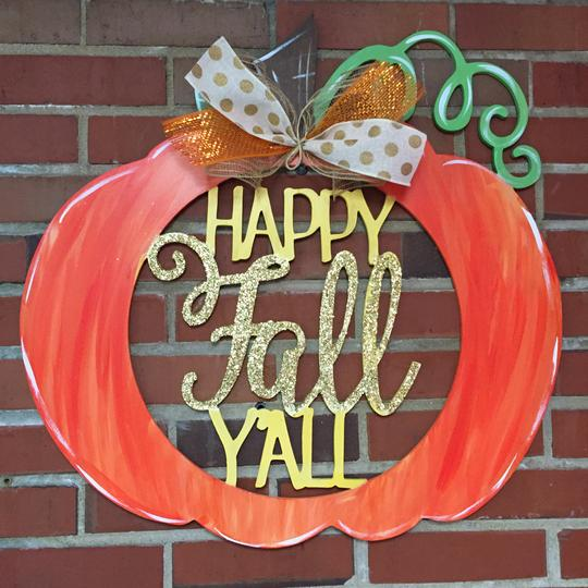 Happy Fall Y'all Funky Pumpkin, Wooden Door Hanger, Thanksgiving Customizable Door Hanger