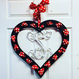 Heart with ribbon holes Single Letter Monogram Painted, Customizable Door Hanger