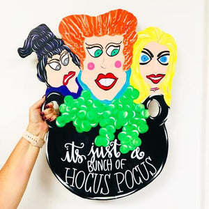 Hocus Pocus Door Hanger, Sanderson Sisters Witches Halloween Decor Customizable Door Hanger