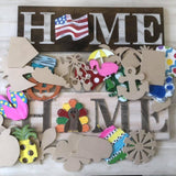 HOME, Interchangable Sign, Farmhouse Style, 4  Velcro Attachments
