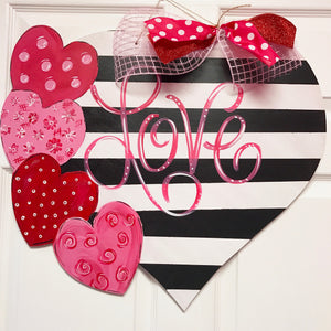 Valentines Heart with Four Hearts Wood Door Hanger
