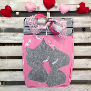 Valentines Mason Jar with Kisses Door Hanger