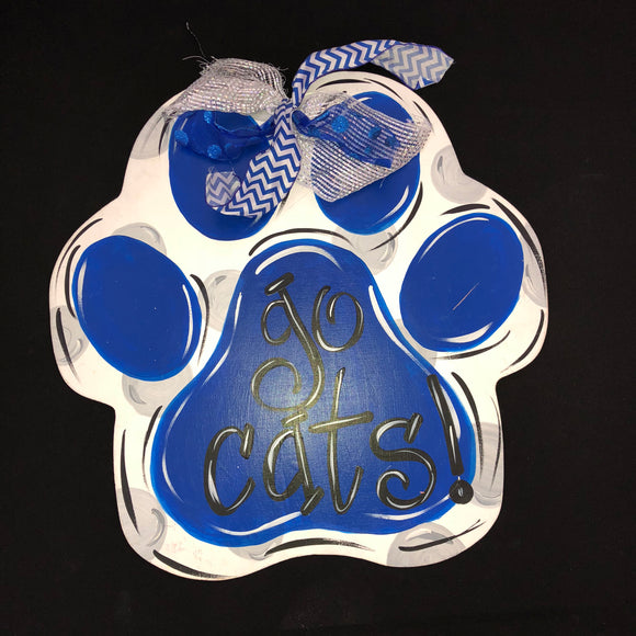 Paw Print Door Hanger, College Sports Home Decor, Customizable