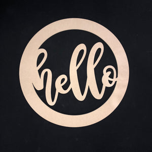 Hello with Circle Border Wooden Door Hanger Unfinished Craft Shape