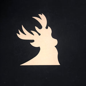 Deer Head, Deer Horns Wooden Cutout Wood, Door Hanger Wooden Blank
