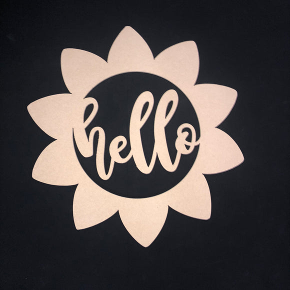 Sunflower with Hello Craft Cutout Wooden Door Hanger Unfinished Craft Shape