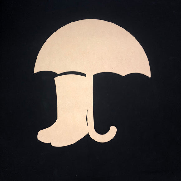 Umbrella wth rainboots, Wooden Cutout Wood, Door Hanger Wooden Blank