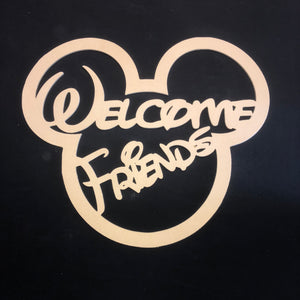 Mickey Mouse Welcome Friends Cutout Wooden Door Hanger Unfinished Craft Shape