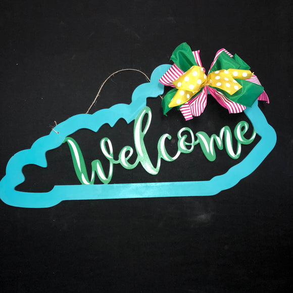 Welcome with Kentucky Border Customizable United States Custom Home Decor