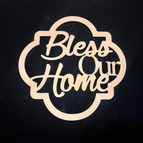 Bless Our Home Craft Cutout Wooden Door Hanger Unfinished Craft Shape