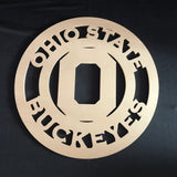 Any Sports Team Circle Border with Logo Cutout Wooden Door Hanger Unfinished Craft Shape
