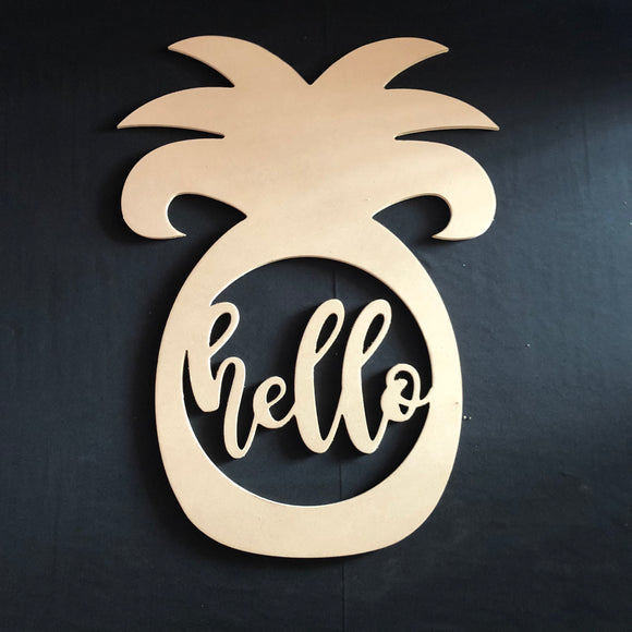 Pineapple with Hello Craft Cutout Wooden Door Hanger Unfinished Craft Shape