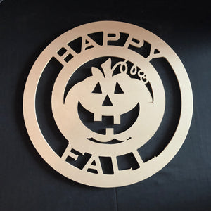 Happy Fall with Jack-O-Lantern Cutout Wooden Door Hanger Unfinished Craft Shape