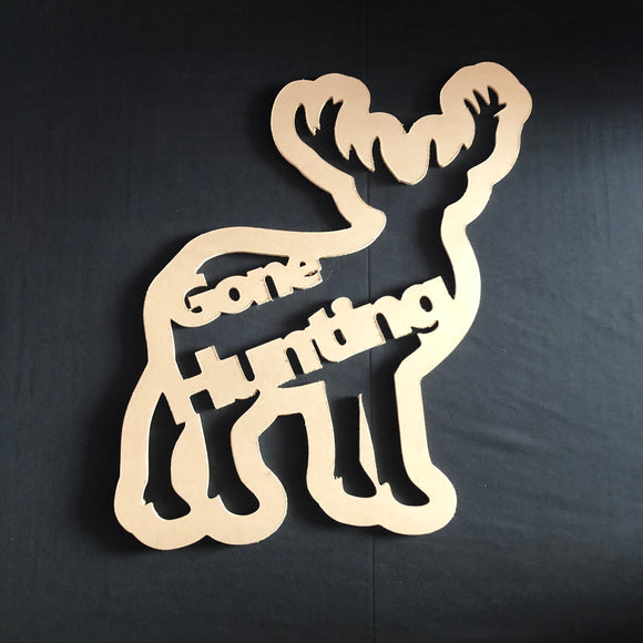 Gone Hunting Deer Wooden Door Hanger Unfinished Craft Shape