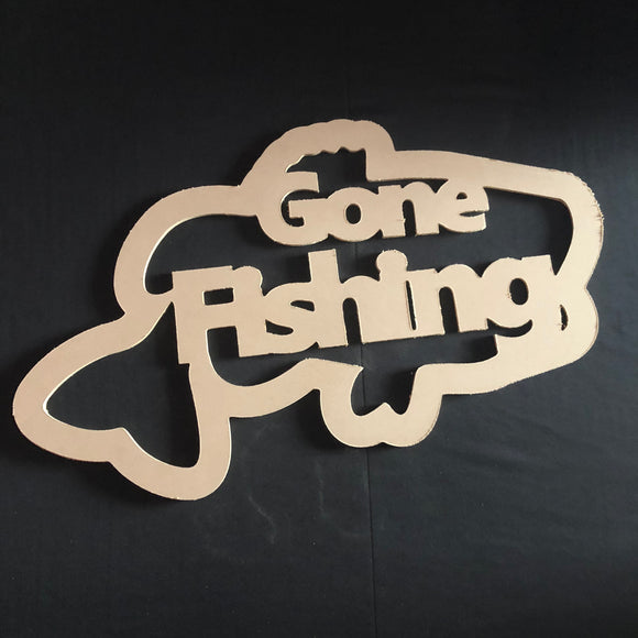 Gone FIshing Bass Wooden Door Hanger Unfinished Craft Shape