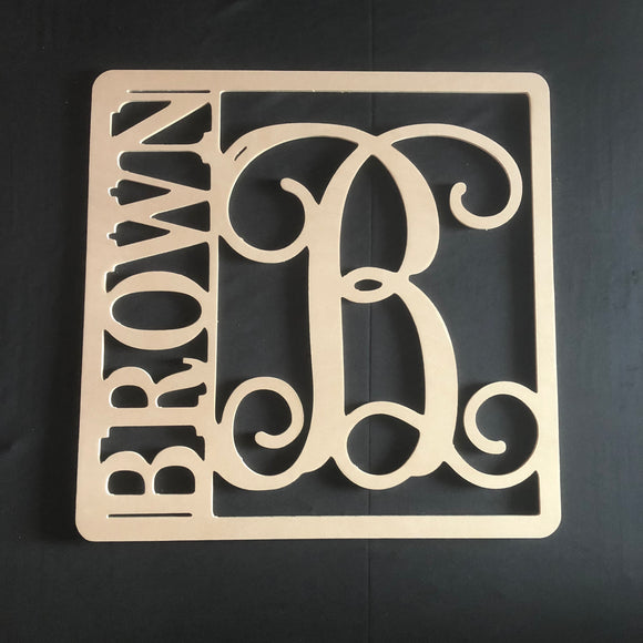Unfinished Square Name Monogram, Customizable, Last Name Door Hanger