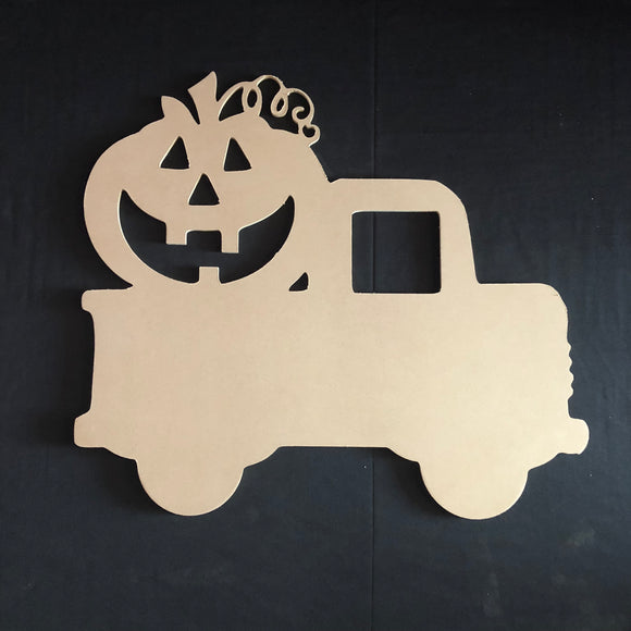 Pickup Truck with Jack-O-Lantern Pumpkin Wooden Door Hanger Unfinished Craft Shape