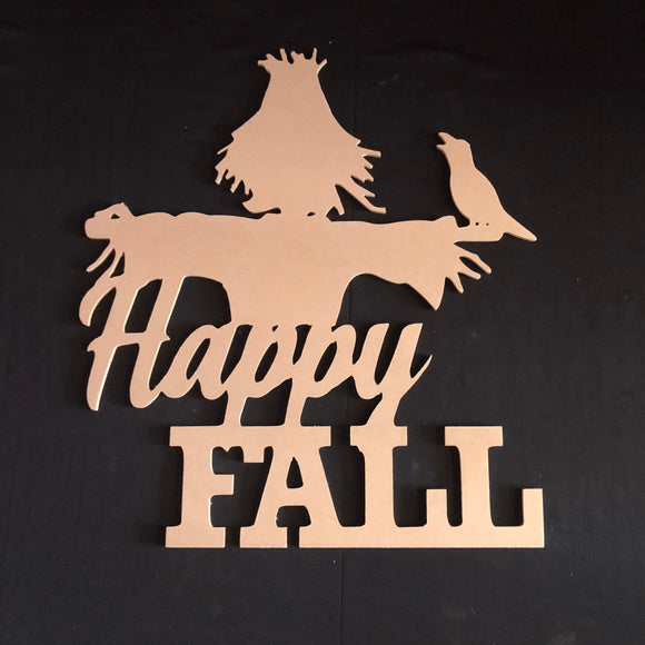 Happy Fall Scarecrow Halloween Wooden Door Hanger Unfinished Craft Shape