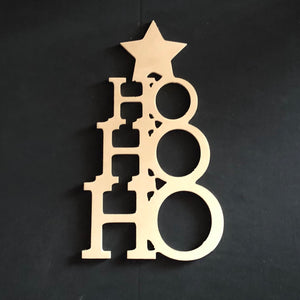 Christmas Tree Ho Ho Ho with Star Wooden Door Hanger Unfinished Craft Shape