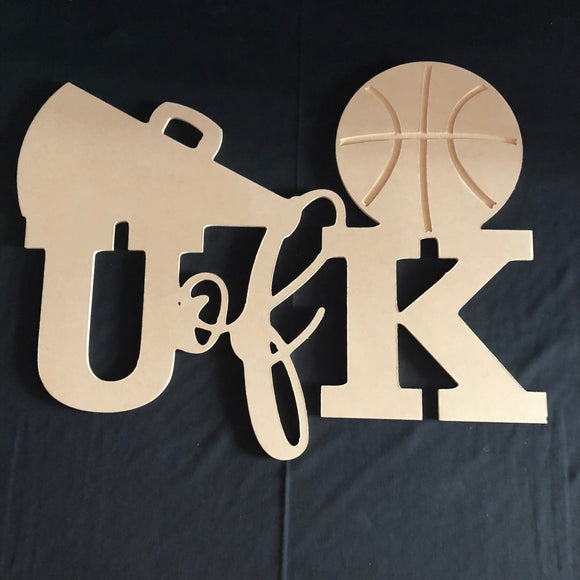 University of Kentucky with Basketball Wooden Door Hanger Unfinished Craft Shape