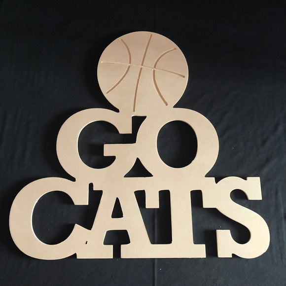 Go Cats with Basketball Wooden Door Hanger Unfinished Craft Shape