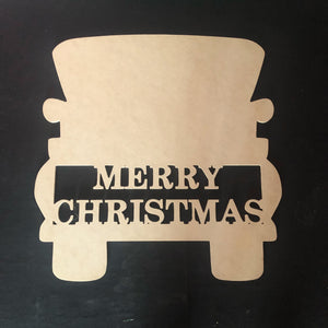 Customizable Truck Merry Christmas Wooden Door Hanger Unfinished Craft Shape