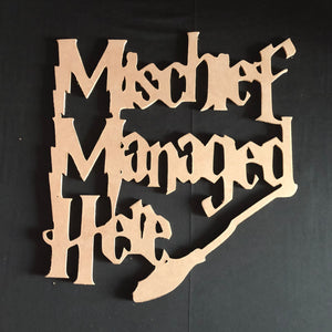 Harry Potter Mischief Managed Here Wooden Door Hanger Unfinished Craft Shape