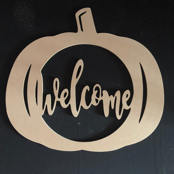 Welcome Pumpkin Wooden Door Hanger Unfinished Craft Shape