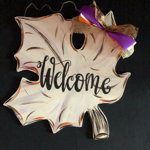 Fall Leaf Wooden Door Hanger, Thanksgiving Customizable Door Hanger