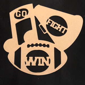 Go Fight Win Sports Collage Door Hanger Unfinished Craft Shape