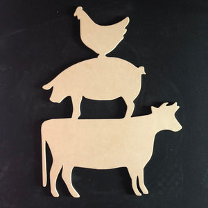 Farmhouse Animal Stack, Chicken Pig Cow Wood, Door Hanger Wooden Blank