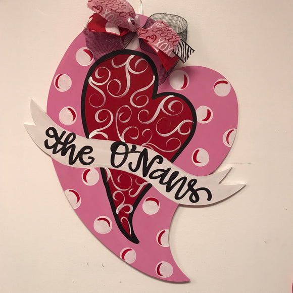 Valentines  Heart with Banner Wooden Door Hanger