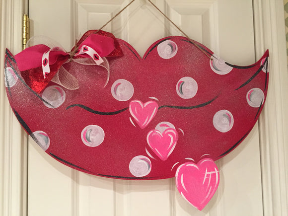 Valentine Lip with Hearts Wood Door Hanger