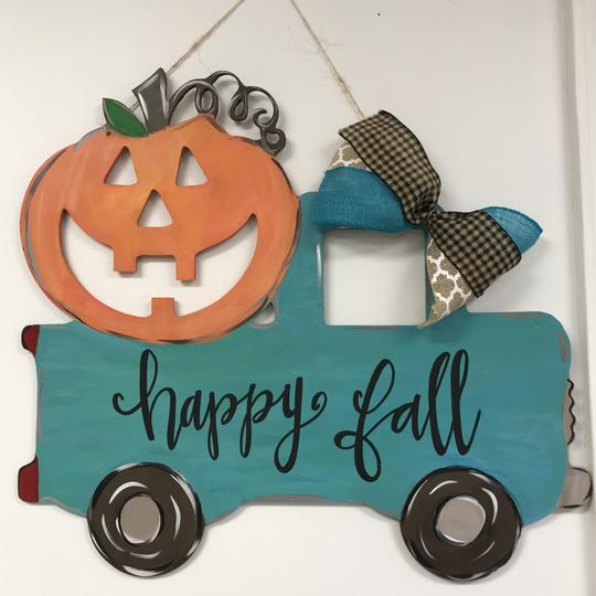 Jack-O-Lantern Truck Painted Wooden Door Hanger, Thanksgiving Customizable Door Hanger