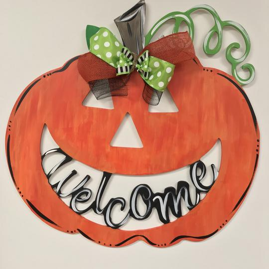 Jack-O-Lantern Welcome, Painted Wooden Door Hanger, Thanksgiving Customizable Door Hanger