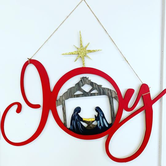 Joy Nativity Scene, Christmas Door Hanger,  Christmas Decoration