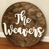 Last Name mounted on a custom circle Painted, Customizable Decor