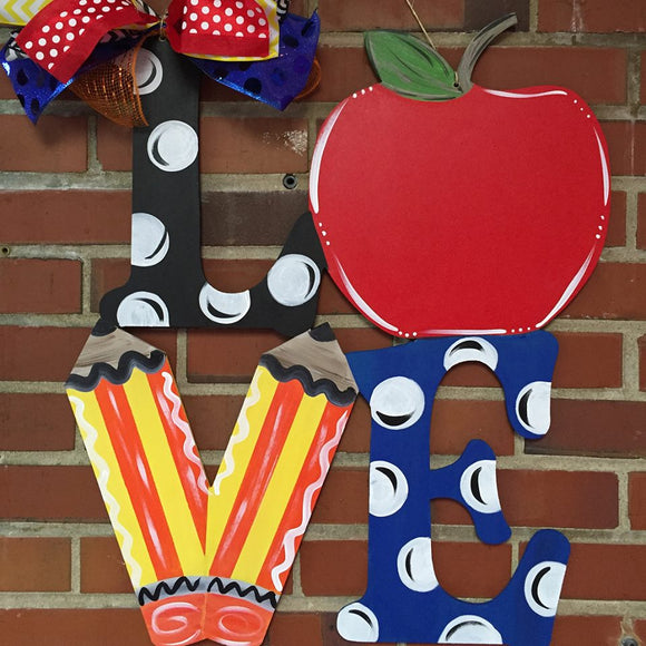 School Teacher Door Hanger, Love with Apple and Pencils Painted Teacher GIft, Customizable