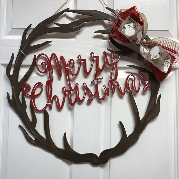 Merry Christmas Circle Antler Wreath Christmas Door Hanger, Christmas Decoration