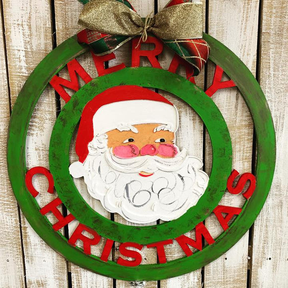 Merry Christmas with Engraved Santa Head Door Hanger Christmas Decoration