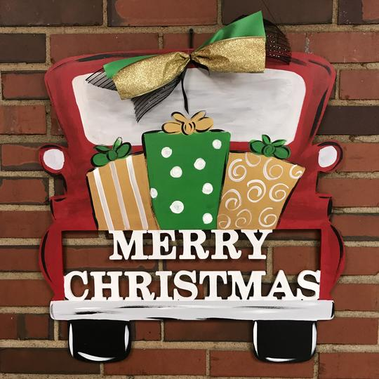 Merry Chrismas Tailgate Truck, Customizable Door Hanger Christmas Decorations