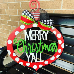 Merry Chrismas Y'all Funky Ornament, Door Hanger Christmas Decoration