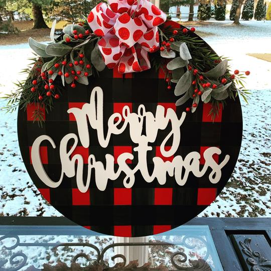 Merry Christmas customizable on Buffalo Plaid, Door Hanger Christmas Decoration