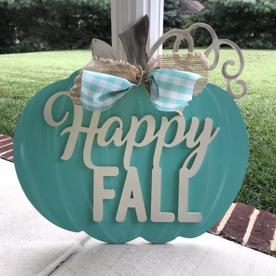 Pumpkin with Happy Fall Overlay, Painted Wooden Door Hanger, Thanksgiving Customizable Door Hanger
