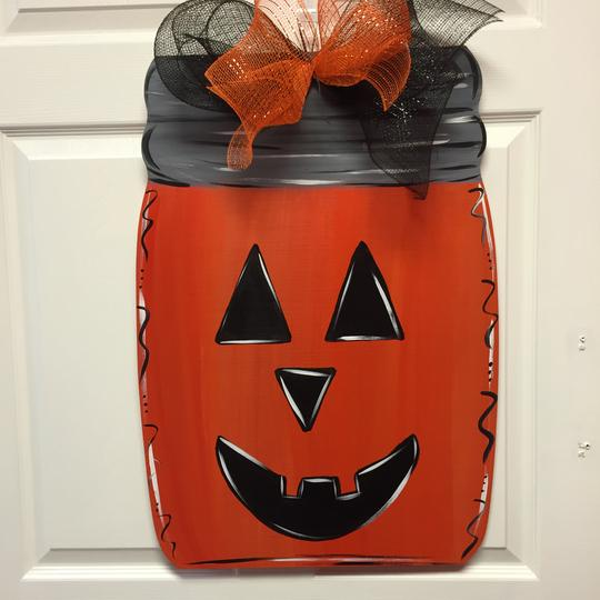 Pumpkin Mason Jar Painted Wooden Door Hanger, Thanksgiving Customizable Door Hanger