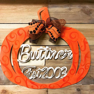 Pumpkin Name and Est Date, Wooden Door Hanger, Thanksgiving Customizable Door Hanger