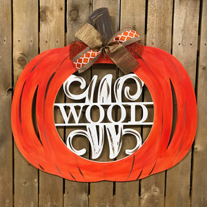 Pumpkin Monogram, Family Name with Monogram Initial Painted, Customizable Fall Decor