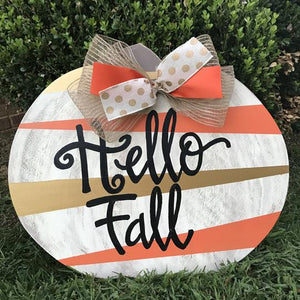 Studio Pumpkin Painted Wooden Fall Door Hanger, Thanksgiving Customizable Door Hanger