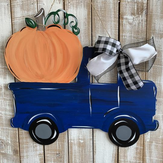 Pumpkin Truck Painted Wooden Fall Door Hanger, Thanksgiving Customizable Door Hanger